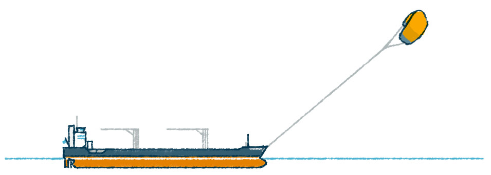 Frachter mit Skysails-Drache
